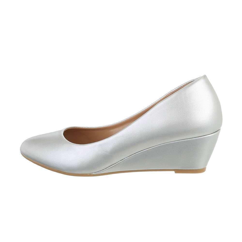 Pantofi cu platformă pentru femei - argintie