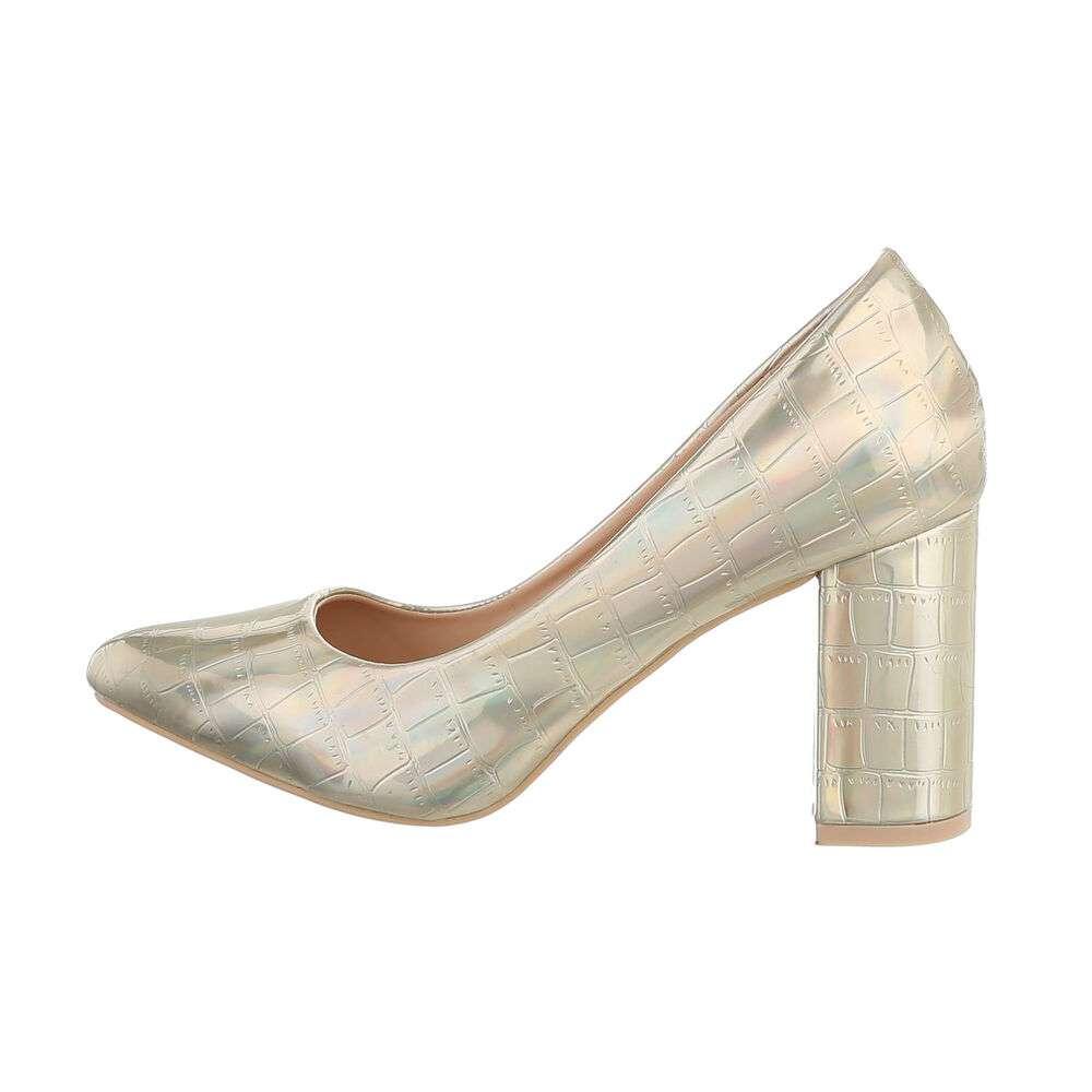 Pantofi cu toc înalt pentru femei - deschis  aurii - image 1