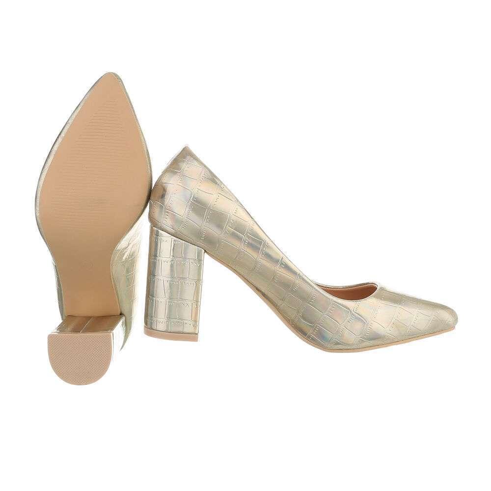 Pantofi cu toc înalt pentru femei - deschis  aurii - image 2
