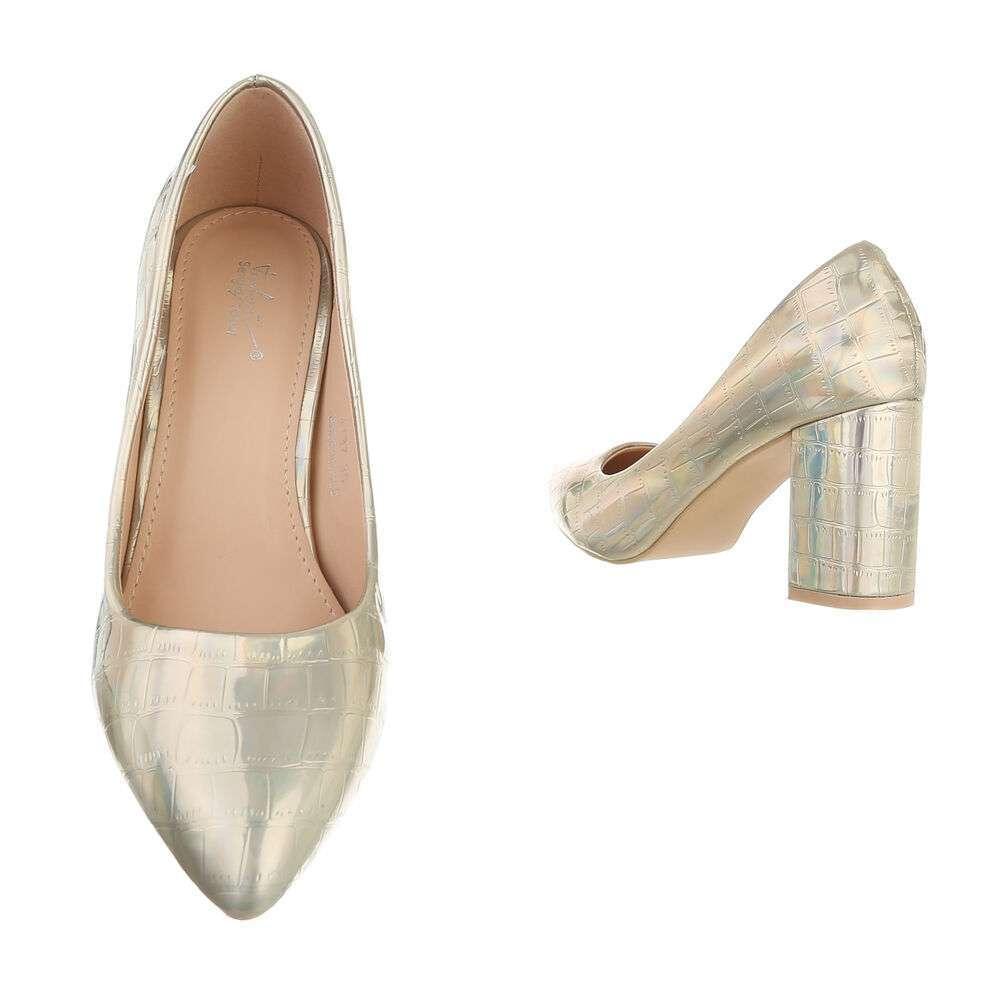 Pantofi cu toc înalt pentru femei - deschis  aurii - image 3