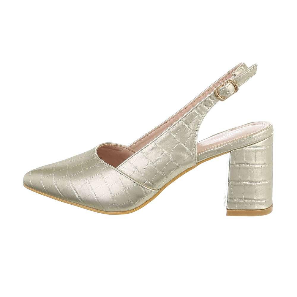 Pantofi cu toc înalt pentru femei - deschis  aurii