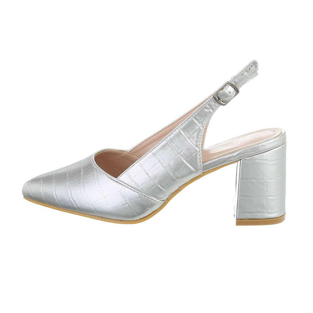 Pantofi cu toc înalt pentru femei - argintii