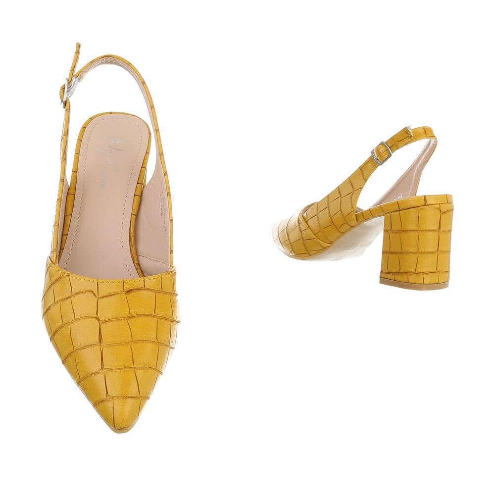 Pantofi cu toc înalt pentru femei - galben - image 3