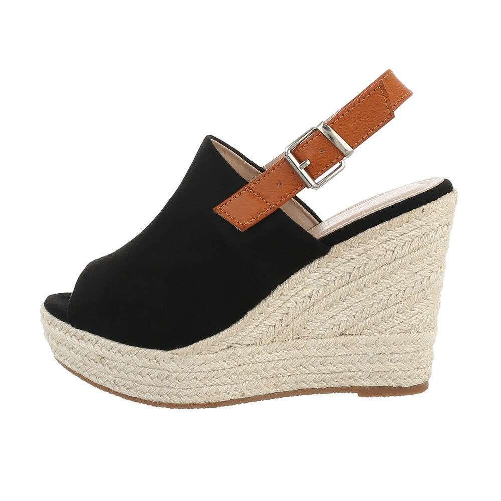 Sandales compensées femme - noir
