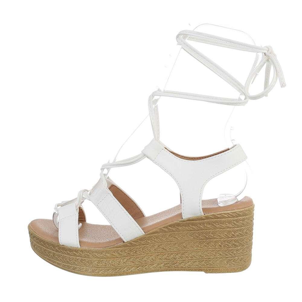 Sandale cu platformă pentru femei - albe