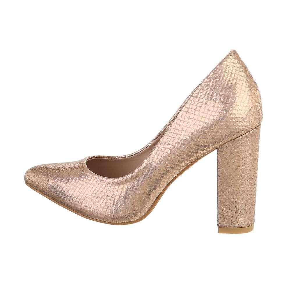 Pantofi cu toc înalt pentru femei - șampanie