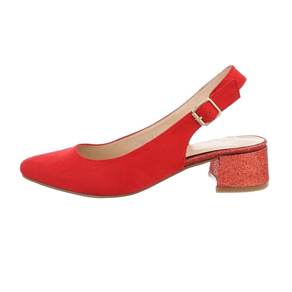 Туфли-лодочки женские на высоком каблуке - красный