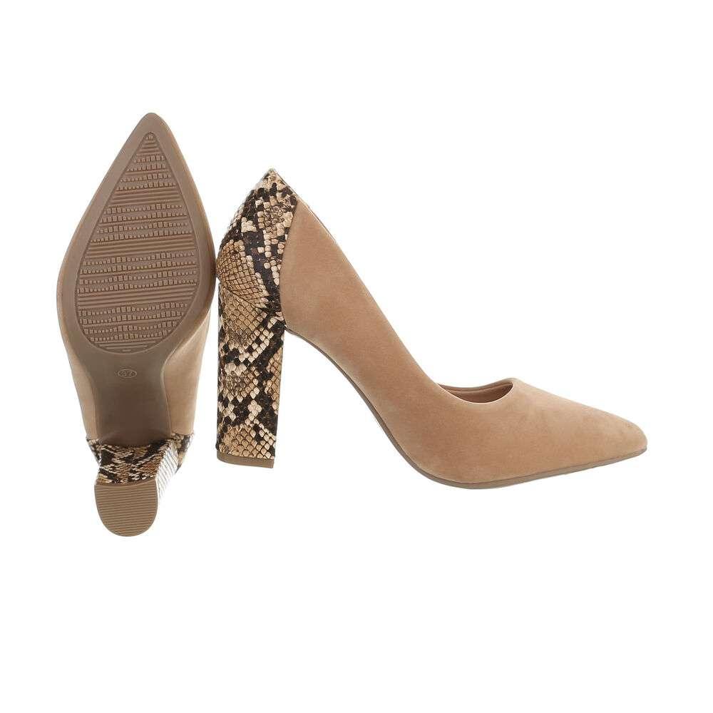 Pantofi cu toc înalt pentru femei - bej - image 2
