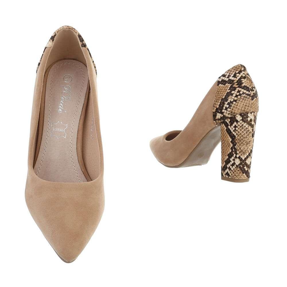 Pantofi cu toc înalt pentru femei - bej - image 3