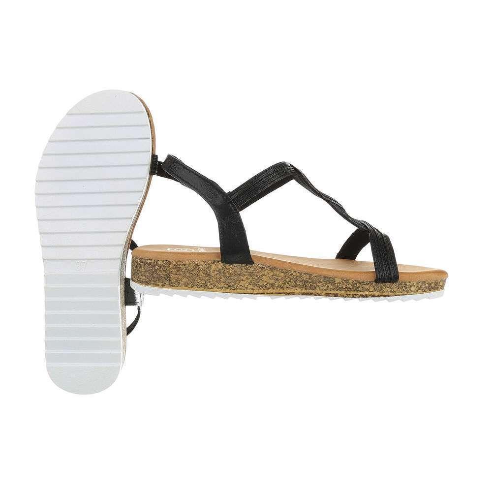 Sandale plate pentru femei - negre - image 2