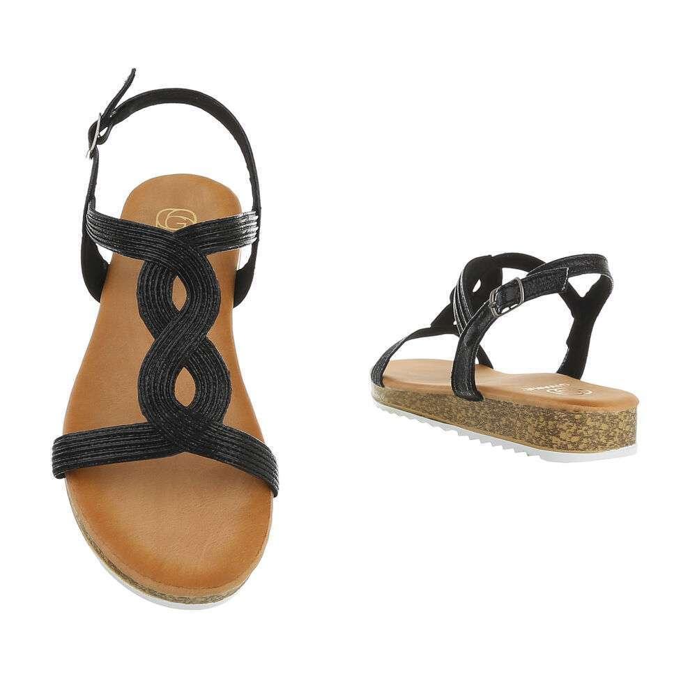 Sandale plate pentru femei - negre - image 3