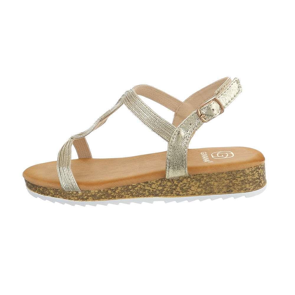 Sandale plate pentru femei - auriu