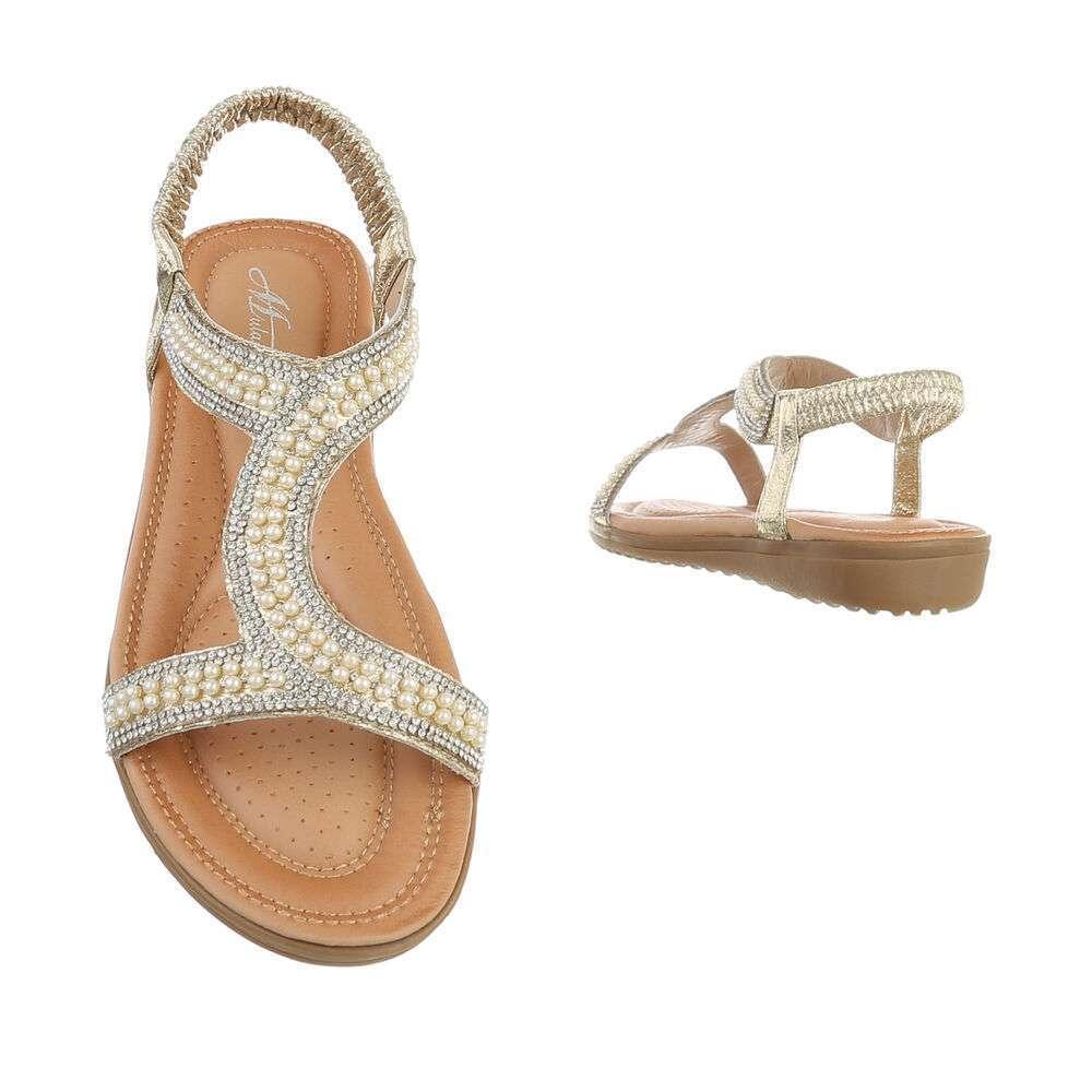 Sandale plate pentru femei - auriu - image 3