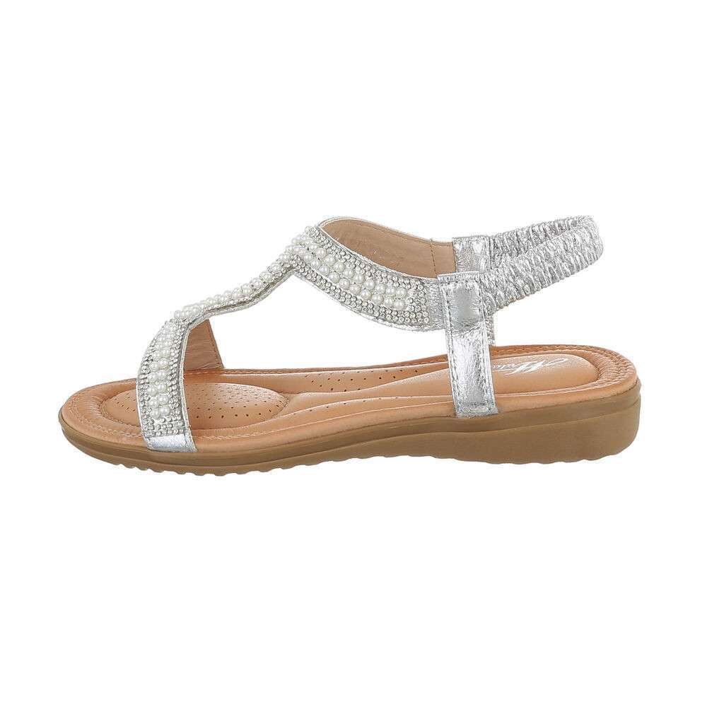 Sandale plate pentru femei - argintii
