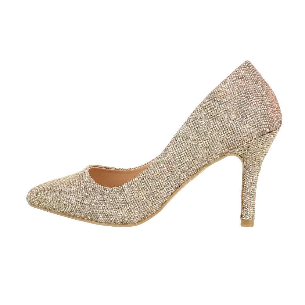 Pantofi cu toc înalt pentru femei - șampanie - image 1