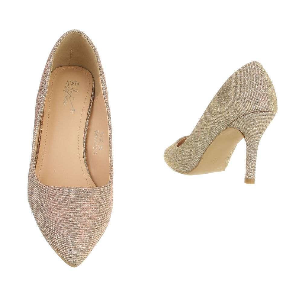 Pantofi cu toc înalt pentru femei - șampanie - image 3
