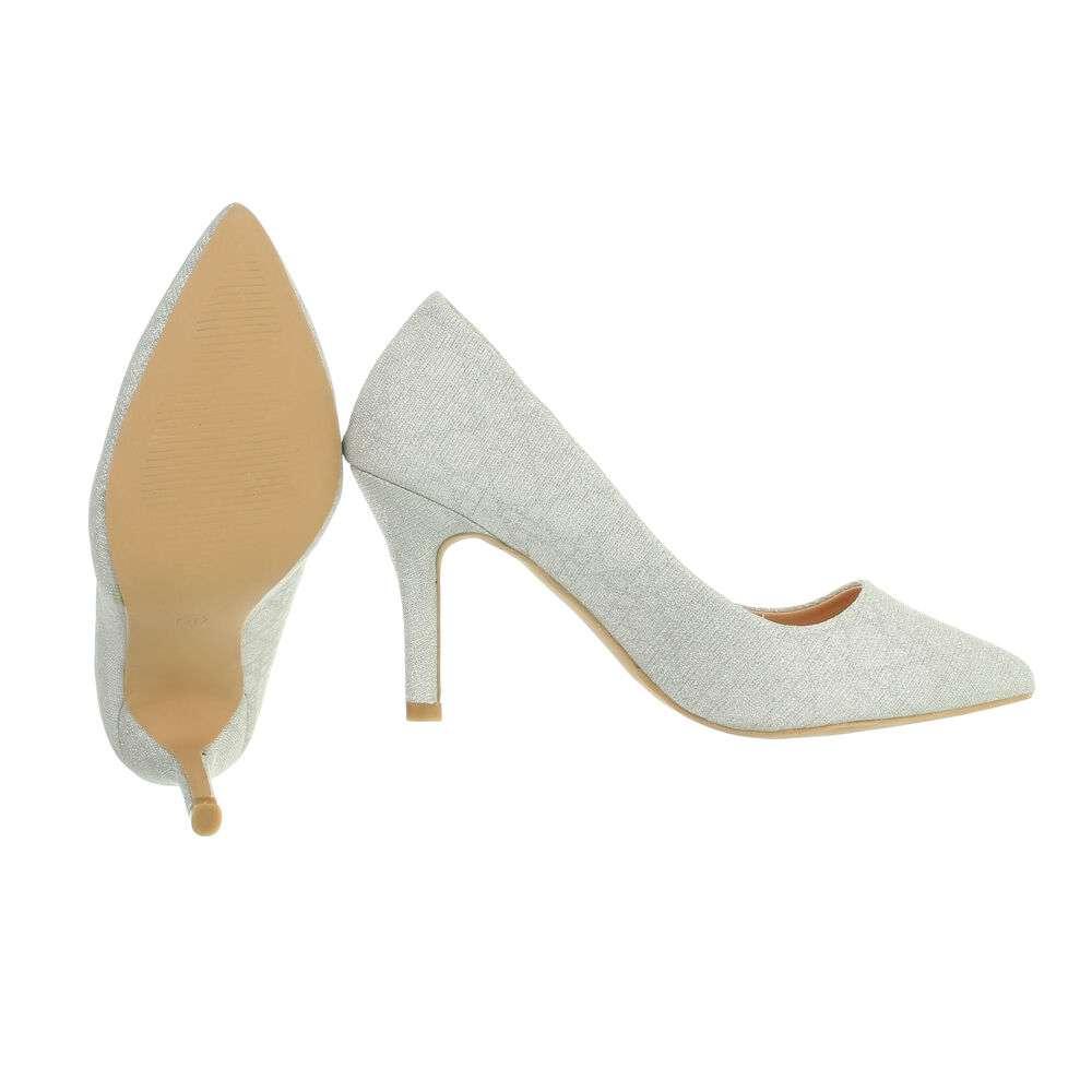 Pantofi cu toc înalt pentru femei - argintii - image 2