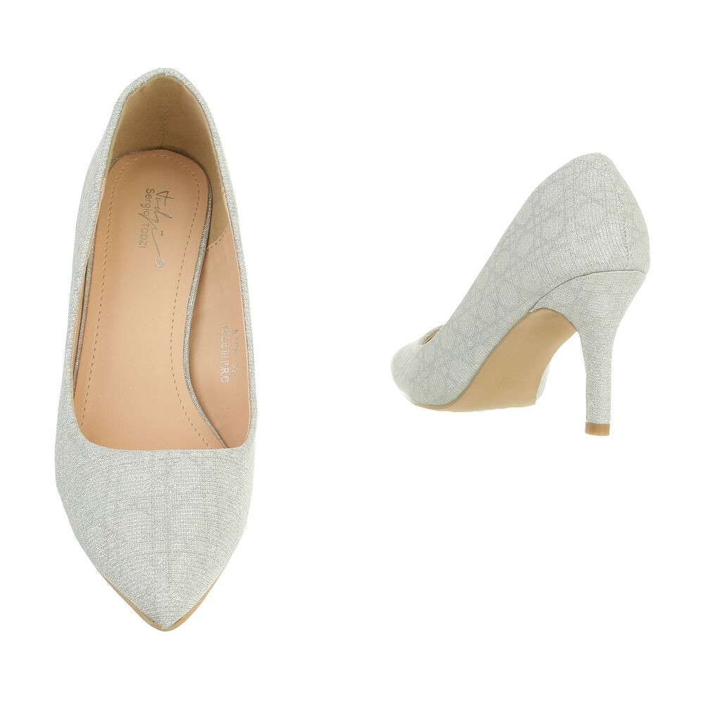 Pantofi cu toc înalt pentru femei - argintii - image 3