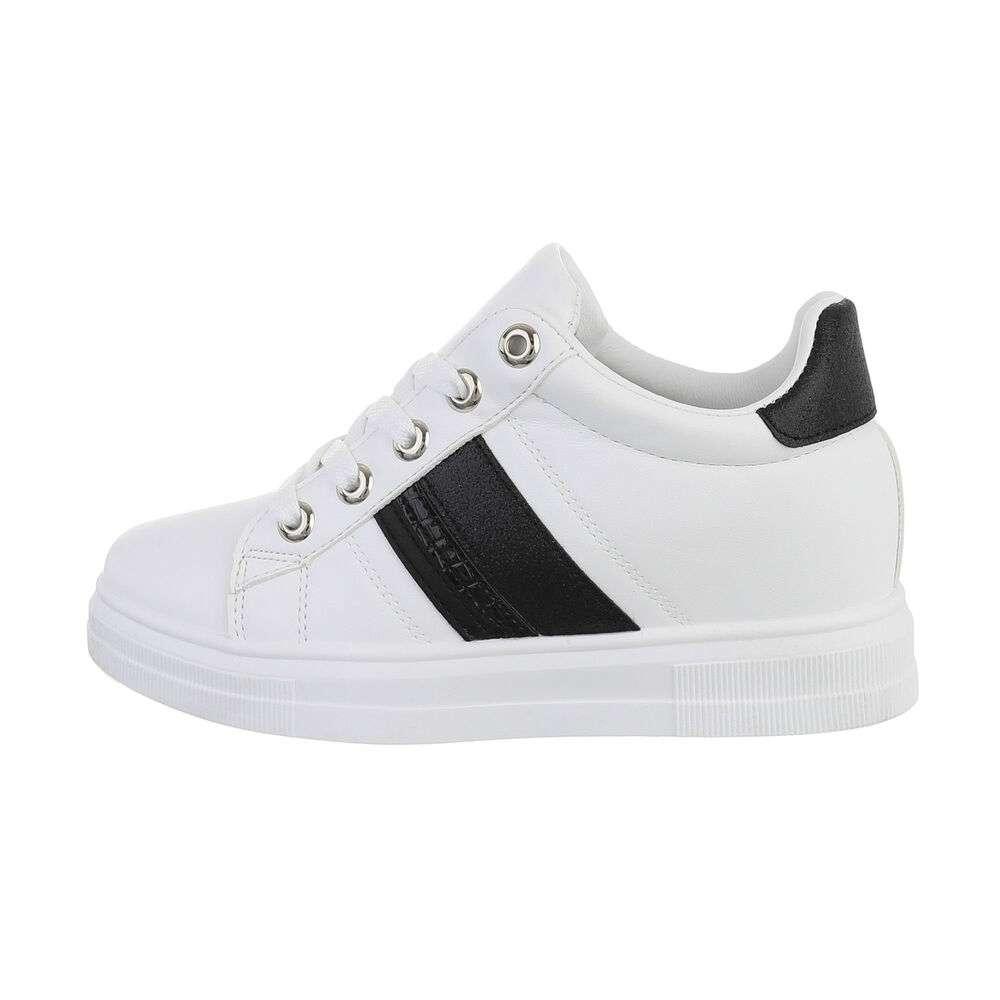 Pantofi sport înalți pentru femei - alb negru