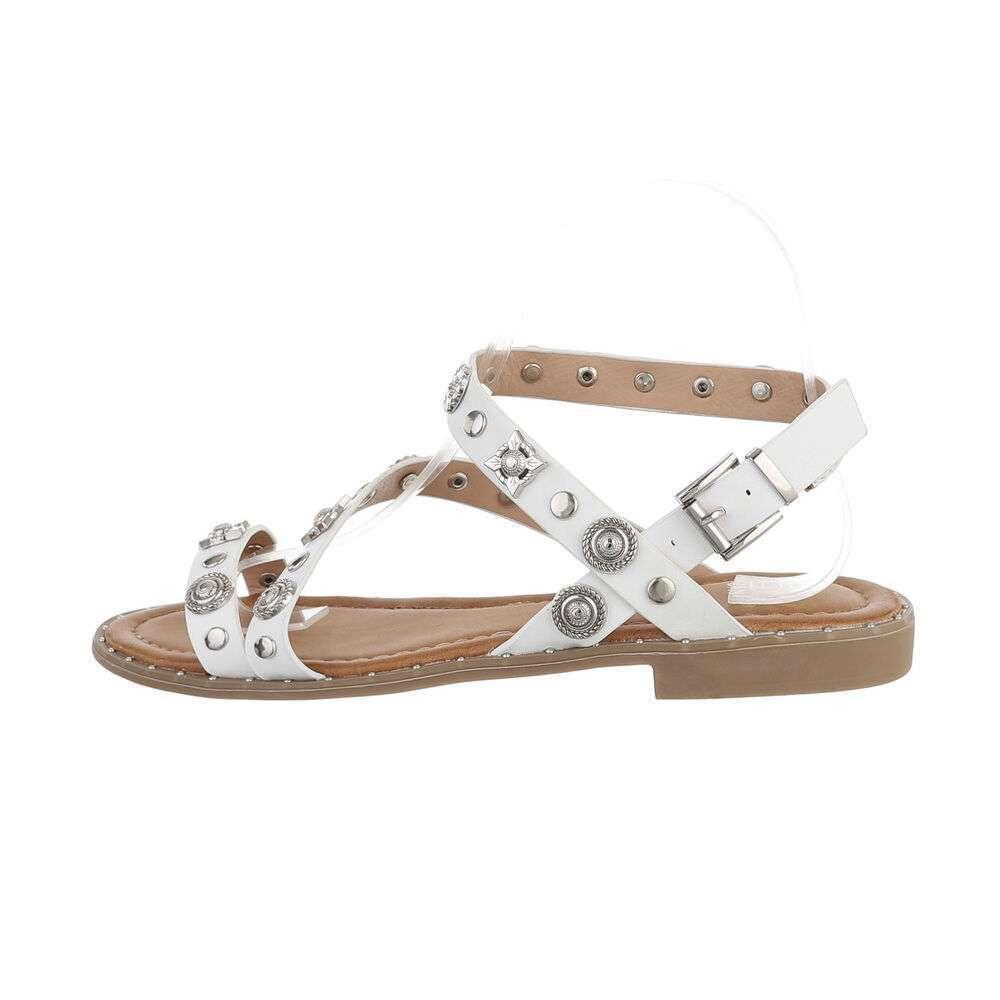Sandale plate pentru femei - albe