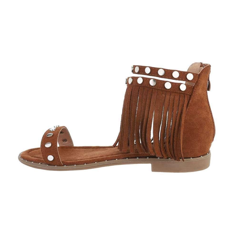 Sandale plate pentru femei - cămilă