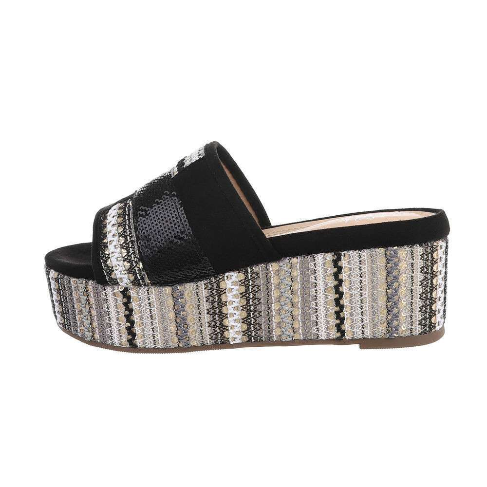 Sandale cu platformă pentru femei - negre