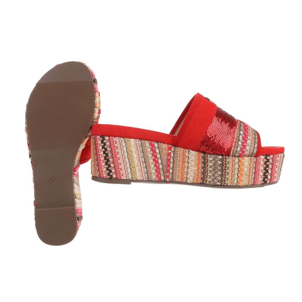 Sandale cu platformă pentru femei - roșii - image 2
