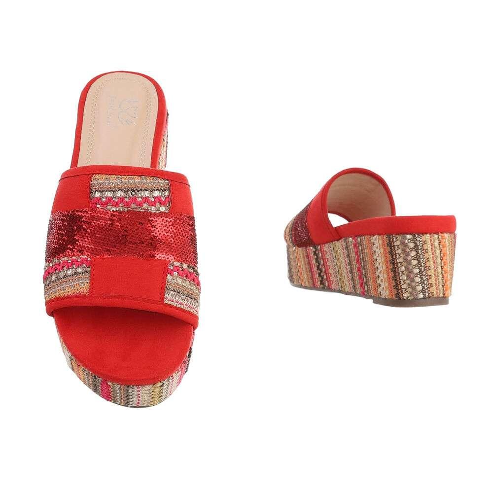 Sandale cu platformă pentru femei - roșii - image 3