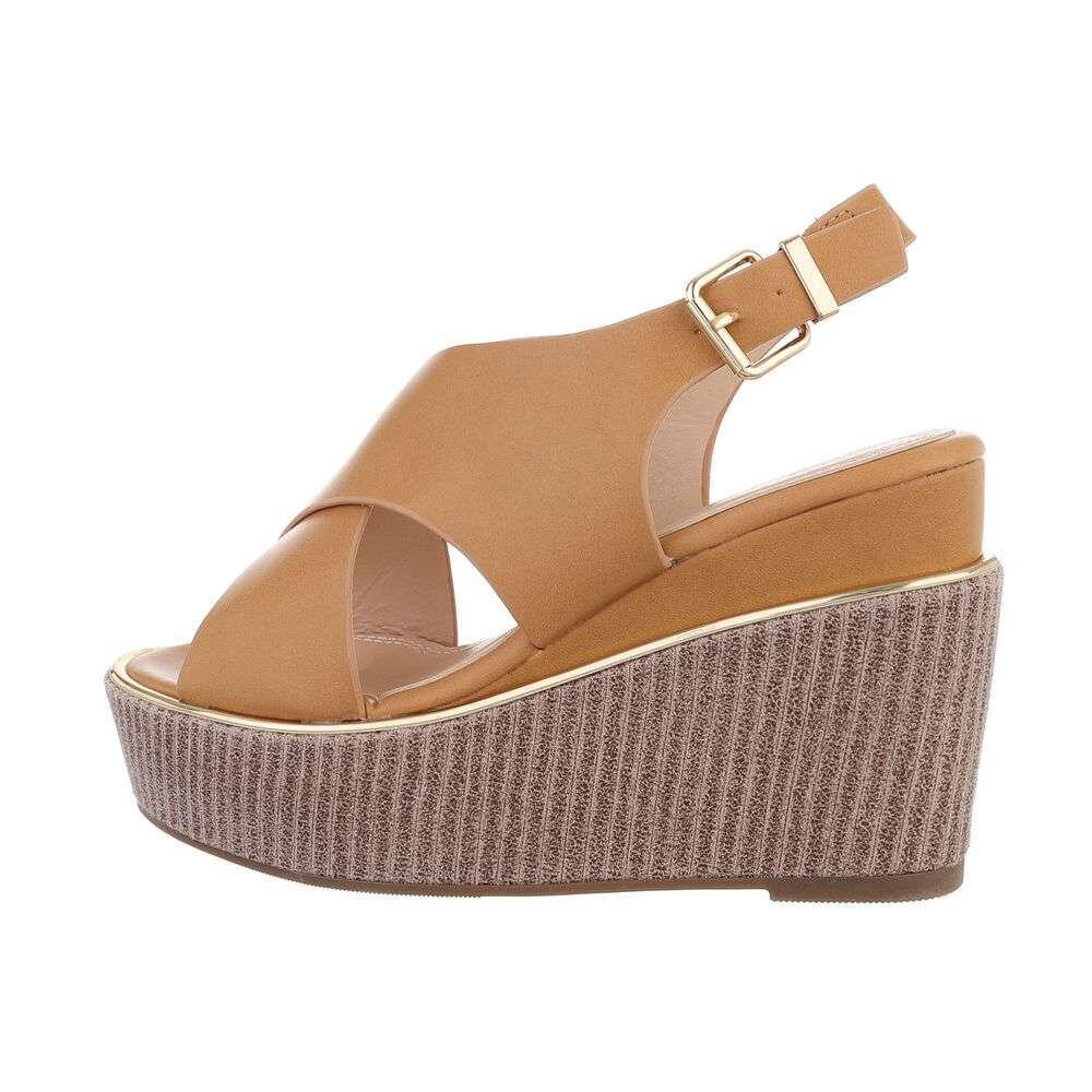 Sandale cu platformă pentru femei - bej