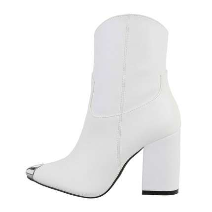 Damen High-Heel Stiefeletten - white