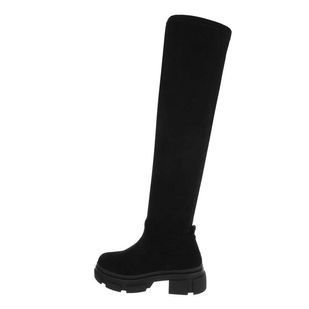 Cizme dama peste genunchi - piele neagră - image 1