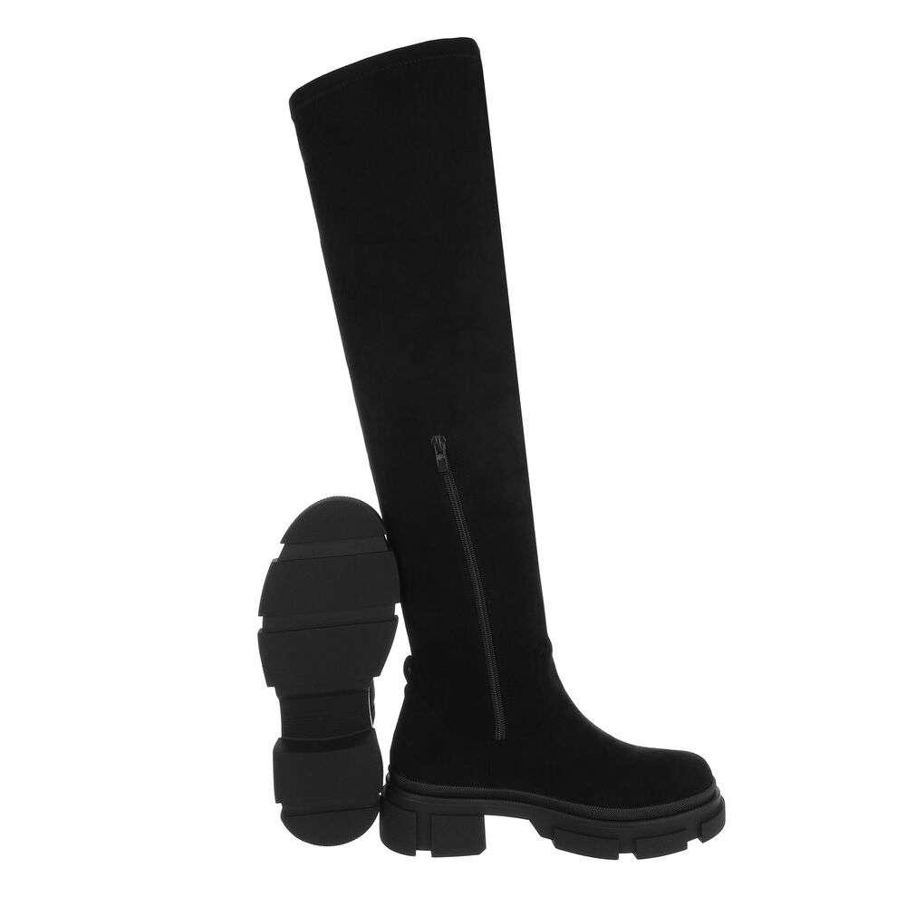 Cizme dama peste genunchi - piele neagră - image 2