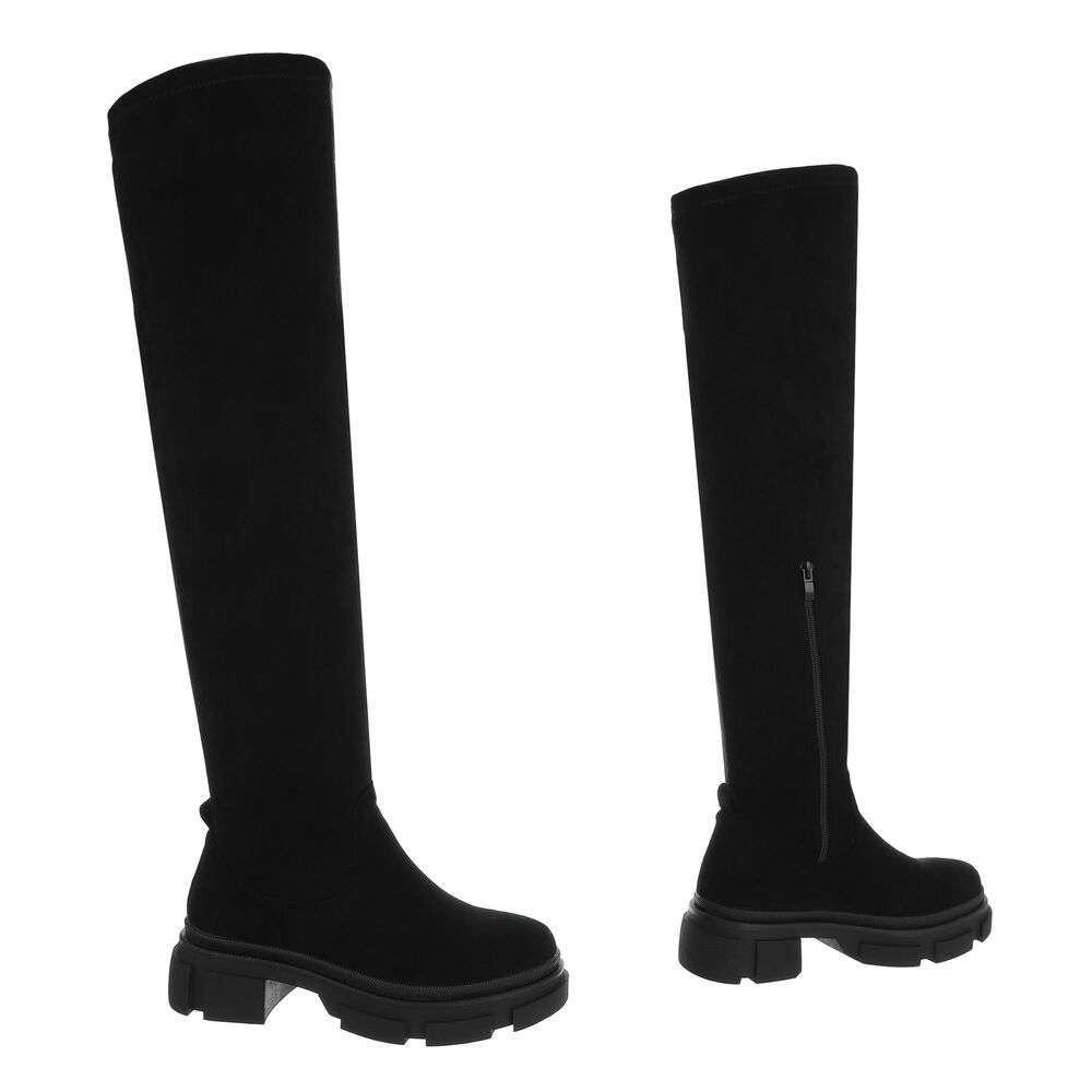 Cizme dama peste genunchi - piele neagră - image 3