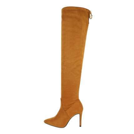 Damen Overknee-Stiefel - yellow