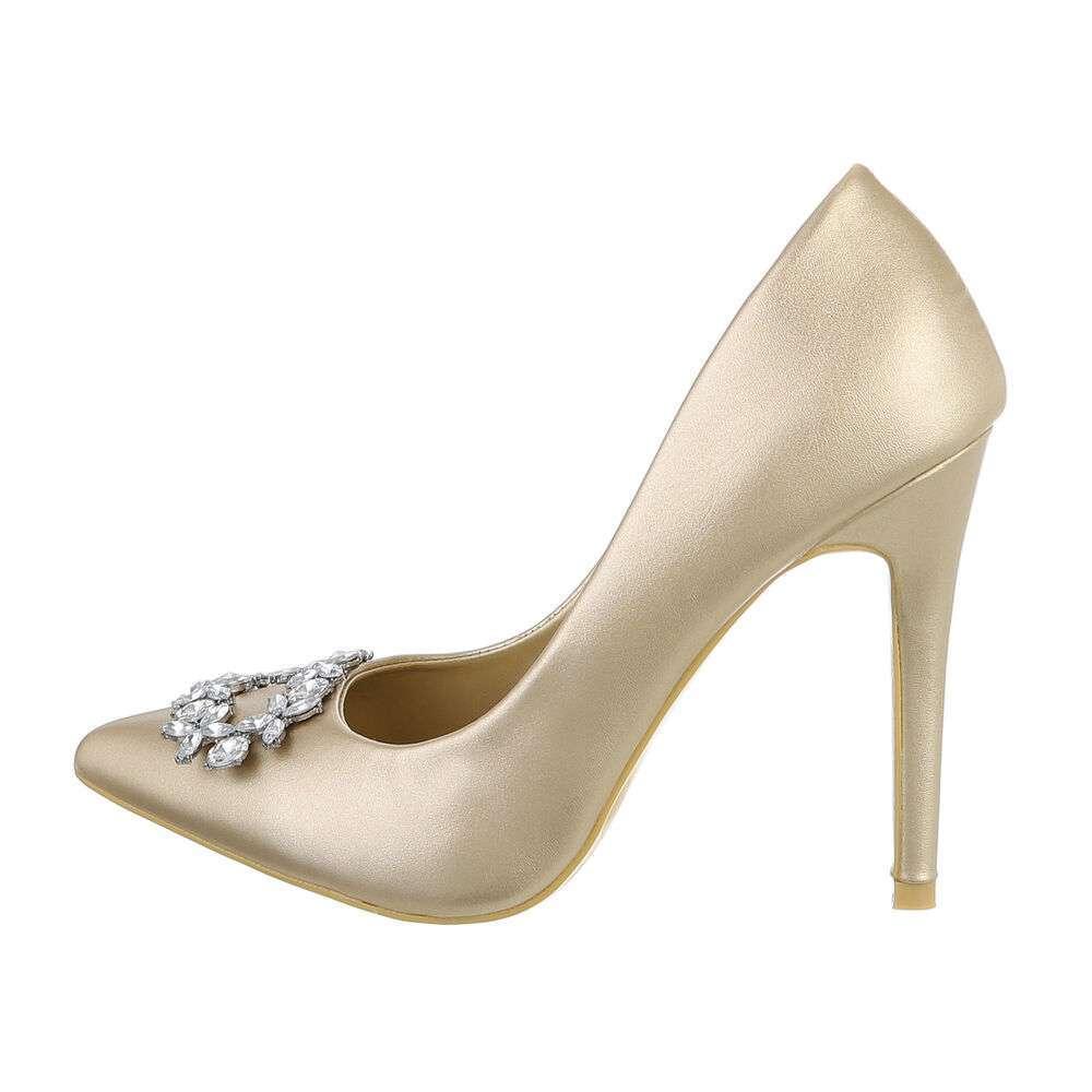 Туфли-лодочки женские на высоком каблуке - золото