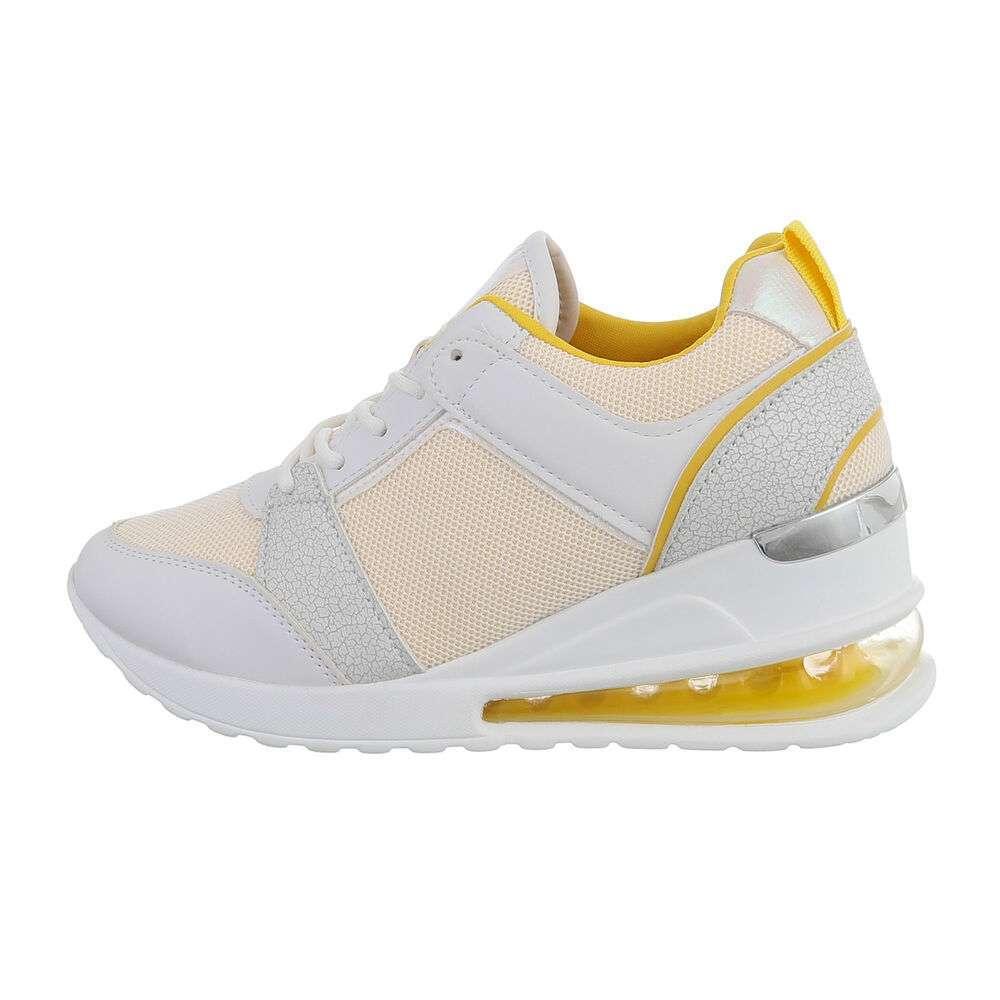 Pantofi sport înalți pentru femei - galbeni