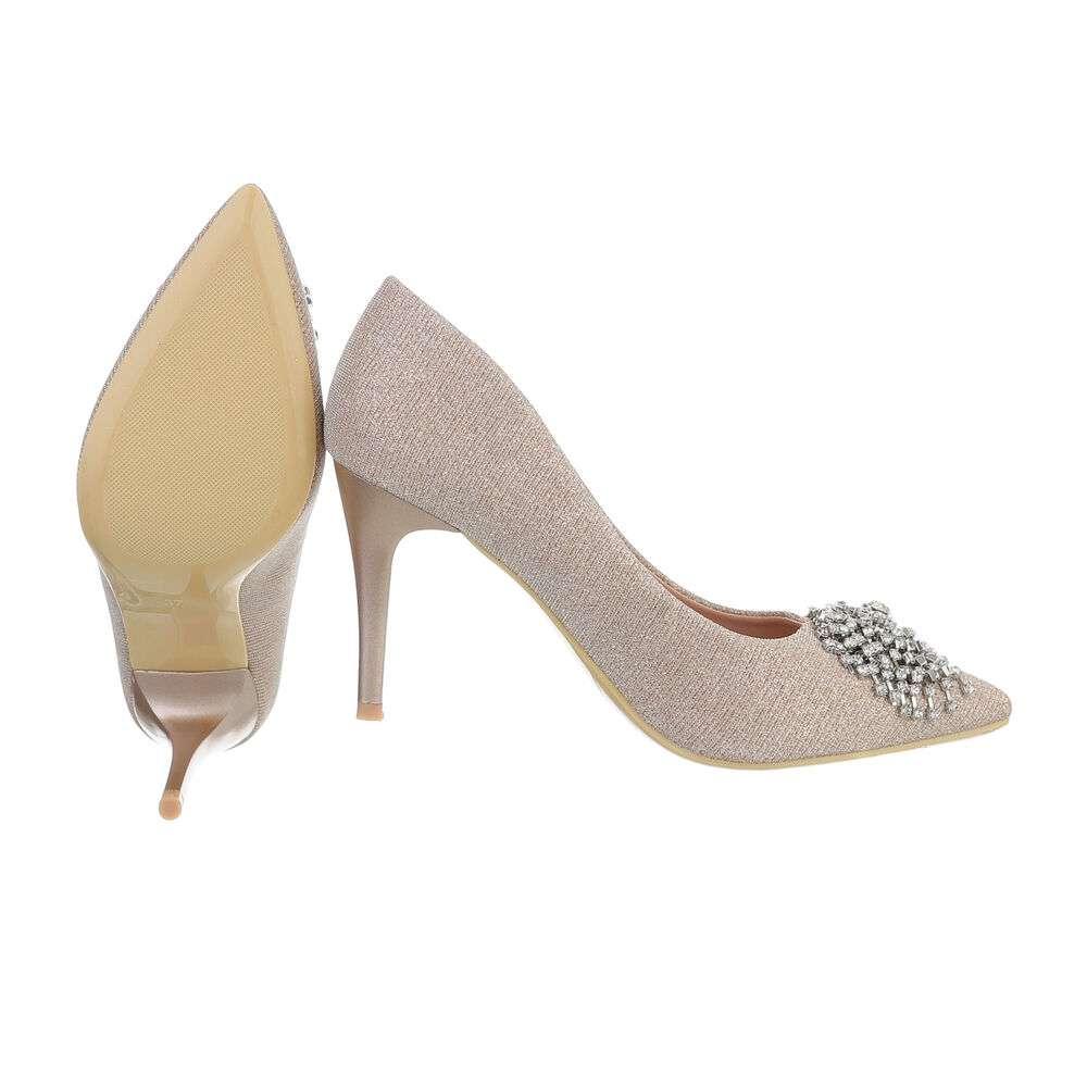 Pantofi cu toc înalt pentru femei - șampanie - image 2