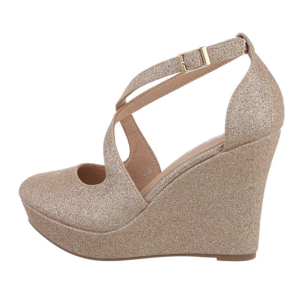 Pantofi cu platformă pentru femei - șampanie