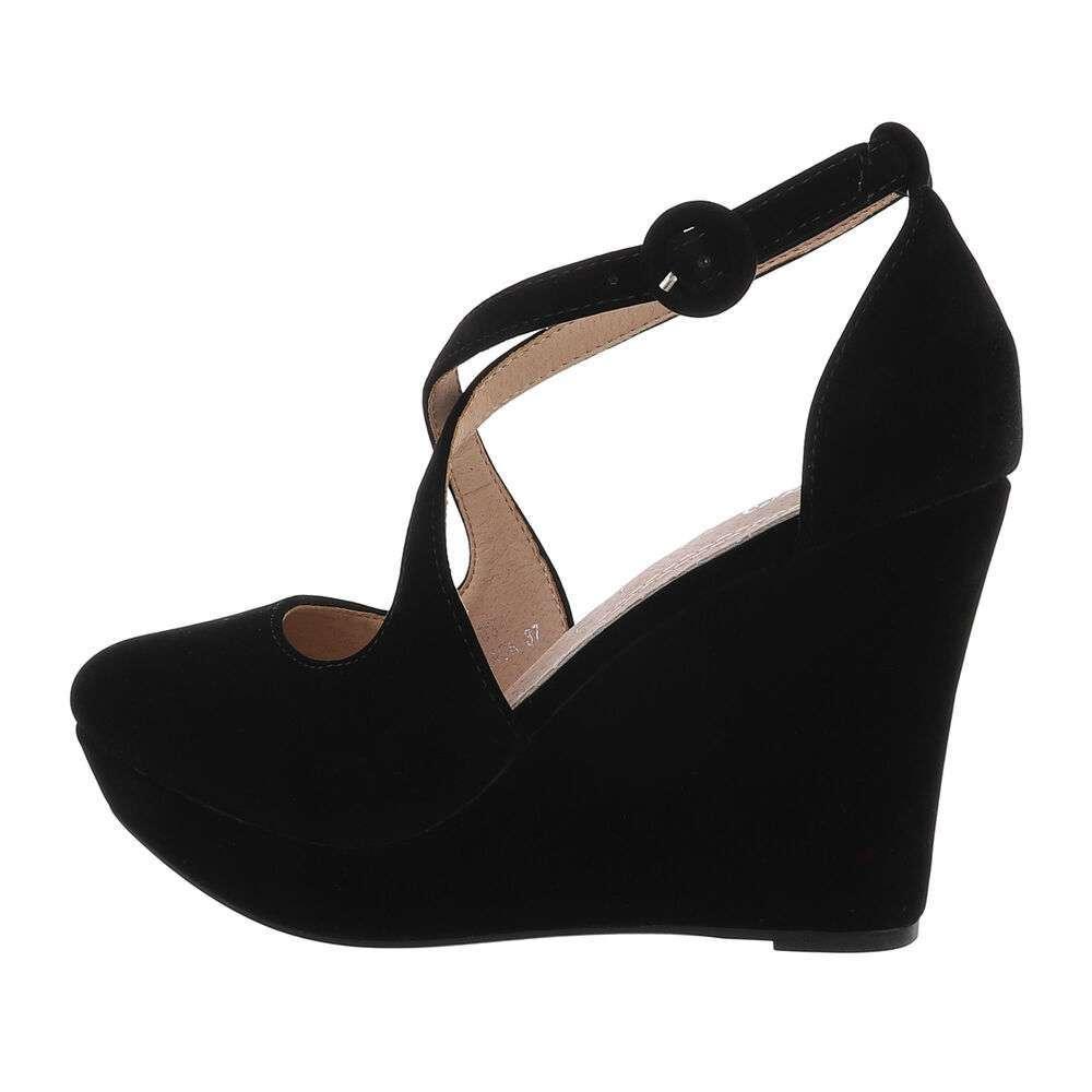 Pantofi cu platformă pentru femei - neagră