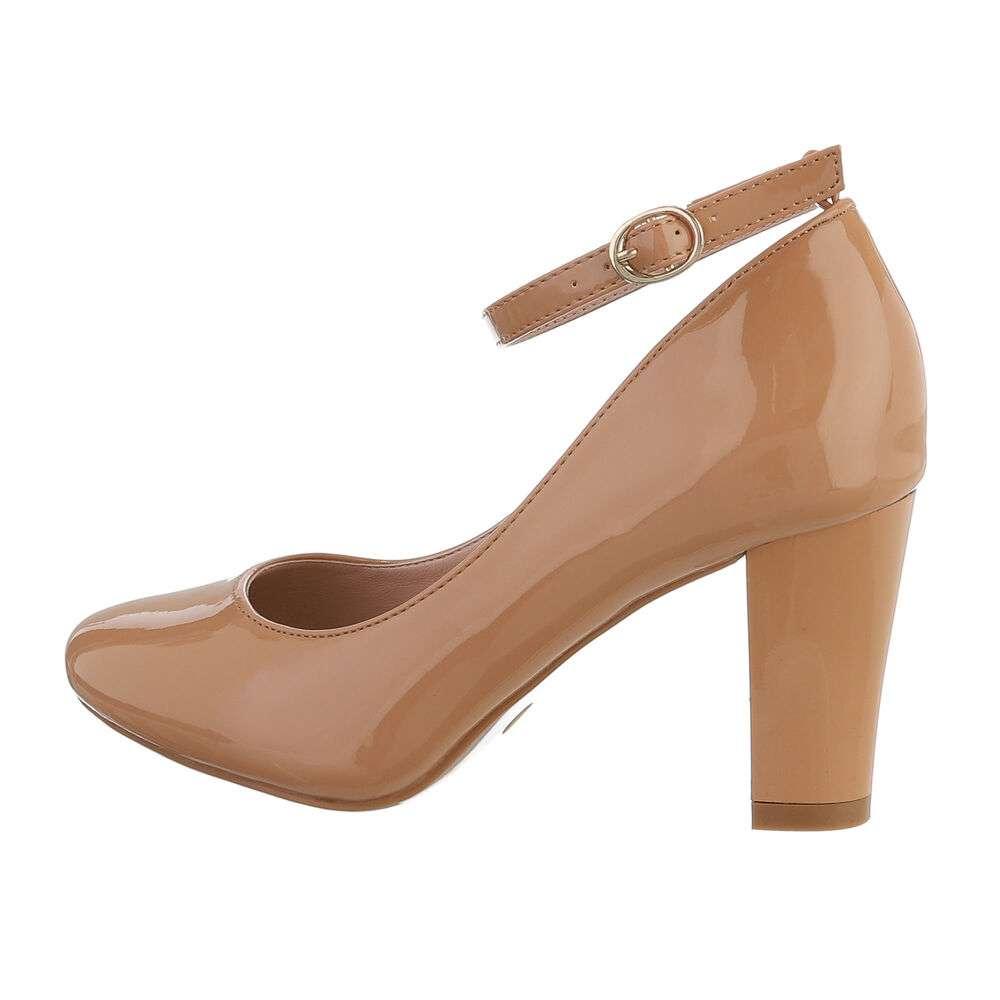 Pantofi cu toc înalt pentru femei - cămilă