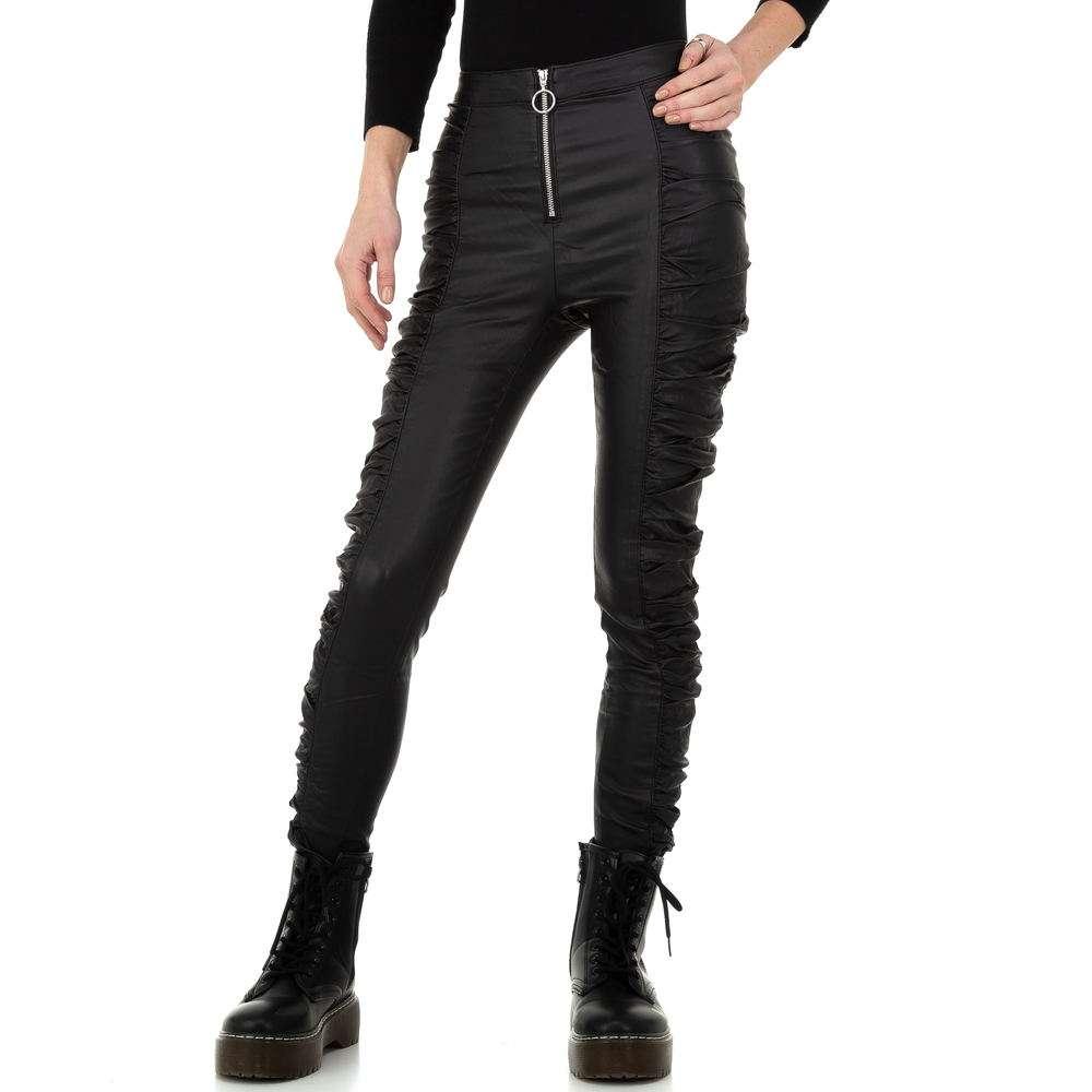 Pantaloni cu aspect piele pentru femei de la Daysie - negru - image 1