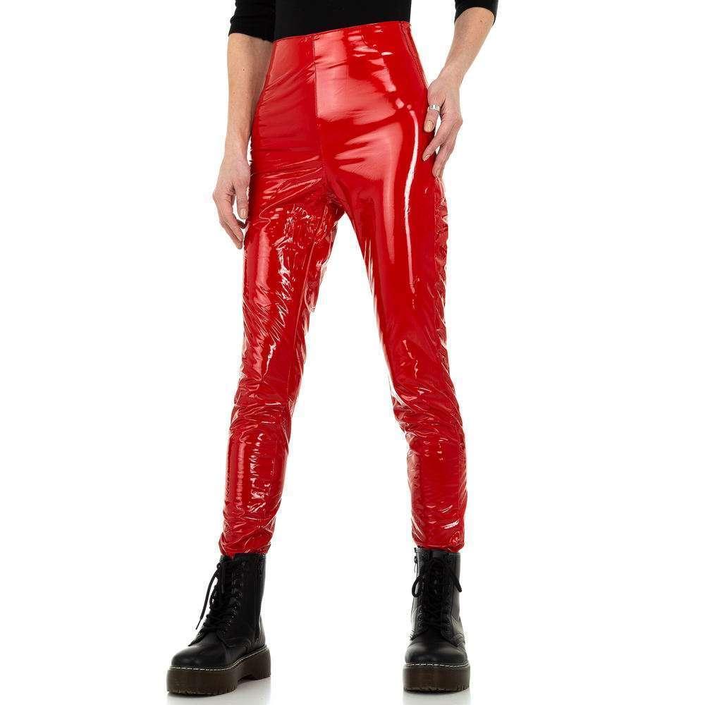 Pantaloni pentru femei din piele de aspect Daysie - roșu