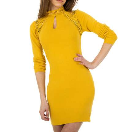 Damen Strickkleid von Whoo Fashion Gr. One Size - yellow