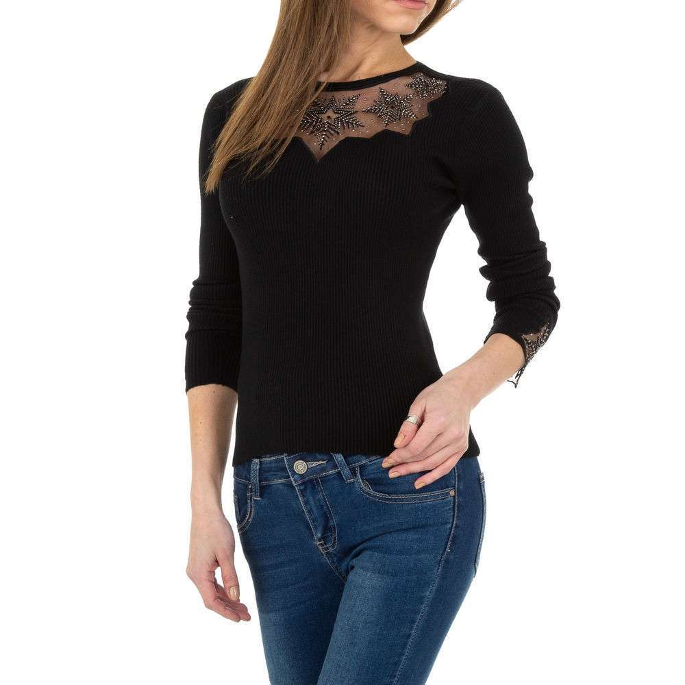 Pulover tricotat pentru femei de la Whoo Fashion Gr. O singură mărime - negru - image 4