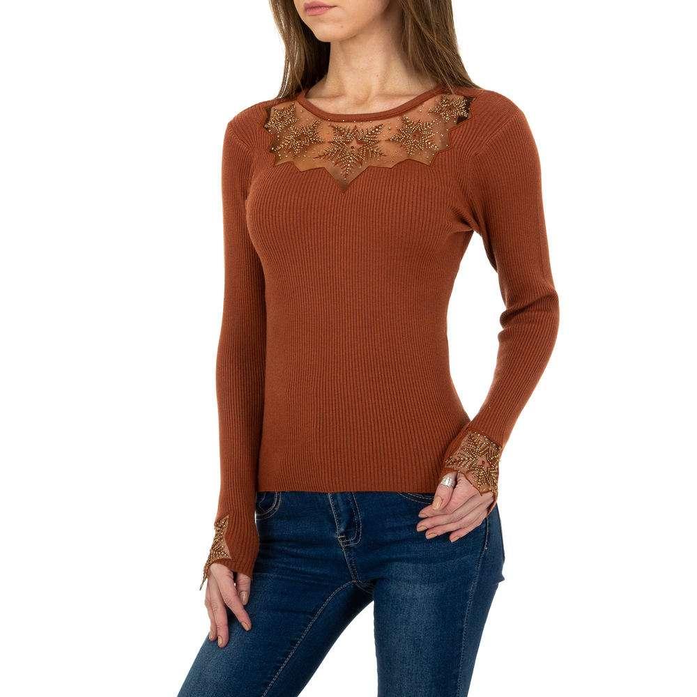 Pulover tricotat pentru femei de la Whoo Fashion Gr. O mărime - maro
