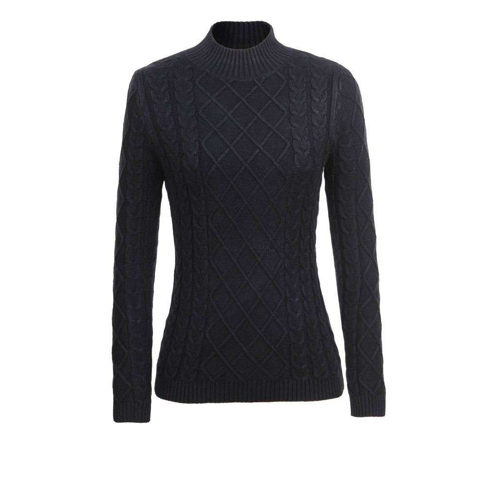 Pulover tricotat pentru femei de Glo storye - negru
