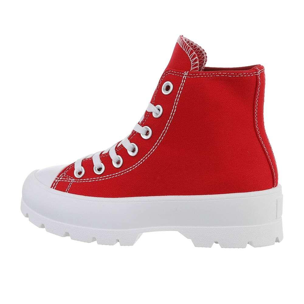 Pantofi sport înalți pentru femei - roșii