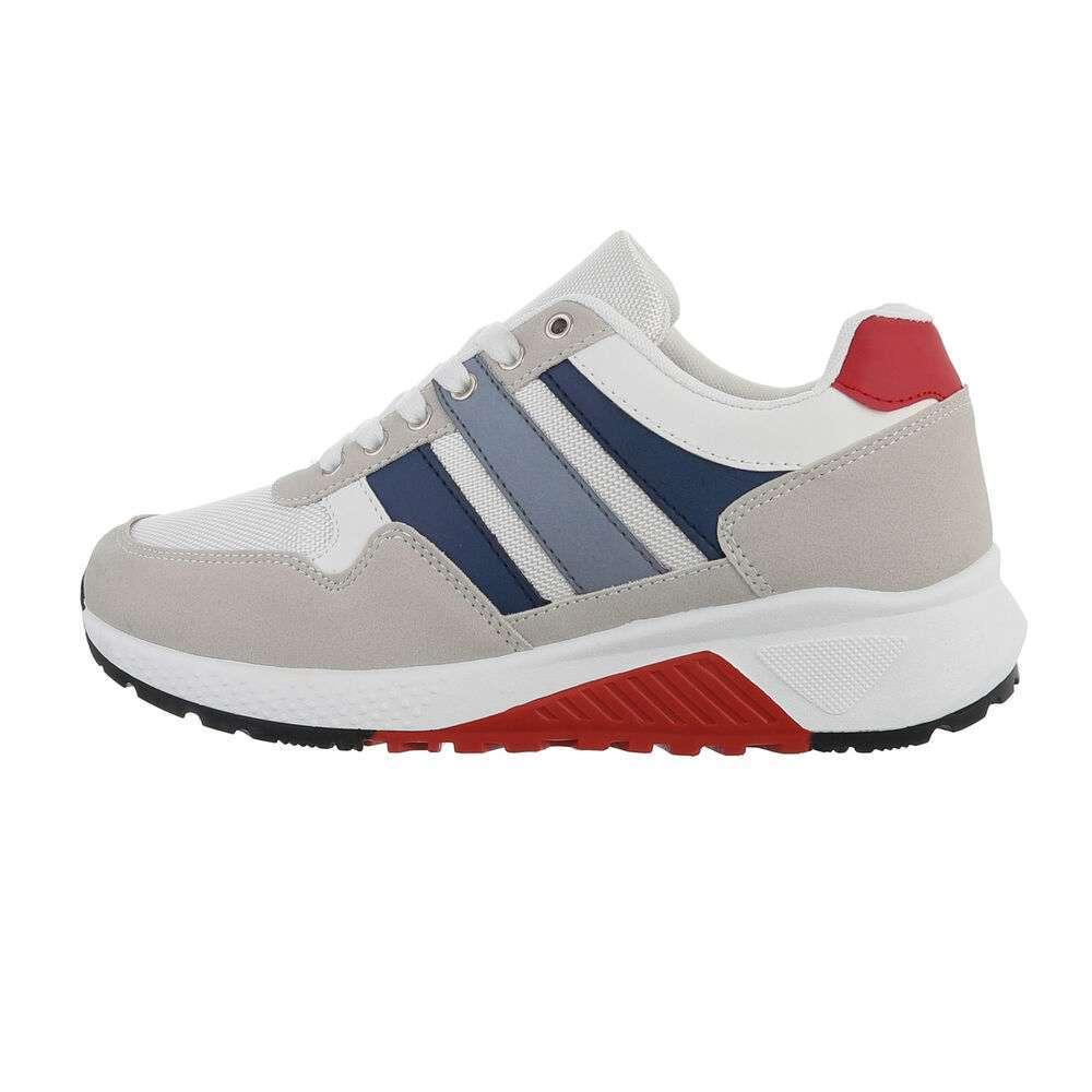 Pantofi casual pentru bărbați - alb albastru