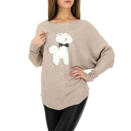 Damen Strickpullover von Whoo Fashion Gr. One Size - beige
