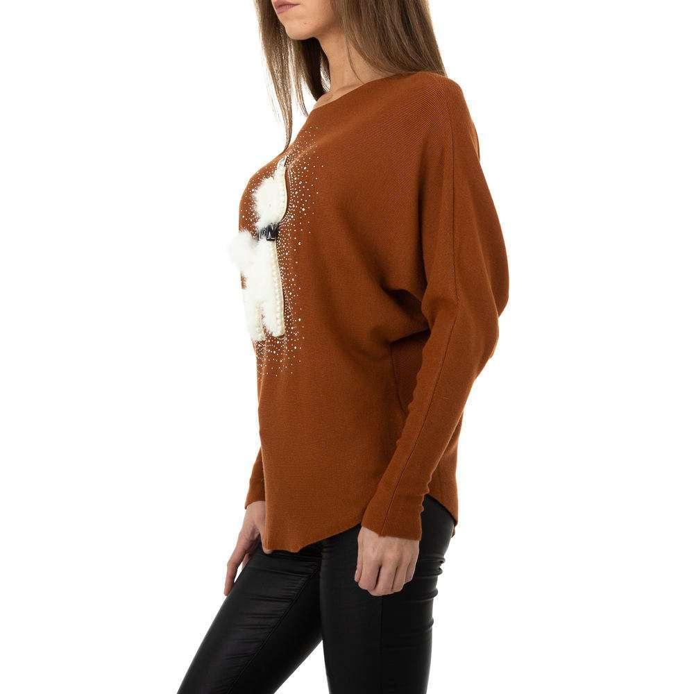 Pulover tricotat pentru femei de la Whoo Fashion Gr. O mărime - maro - image 2